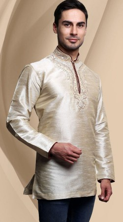 Off White Dupian Silk Chinese Collar Style Men Short Kurta DTDK163