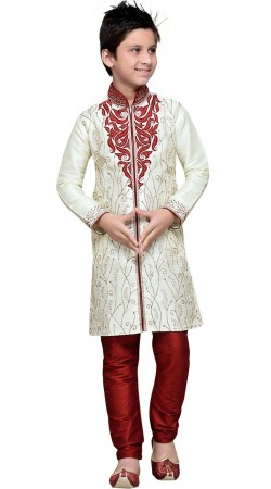 Off White Embroidery Work Art Silk Boy Sherwani GR11708