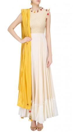 Off White Georgette Designer Floor Length Anarkali Suit SUUDS40420