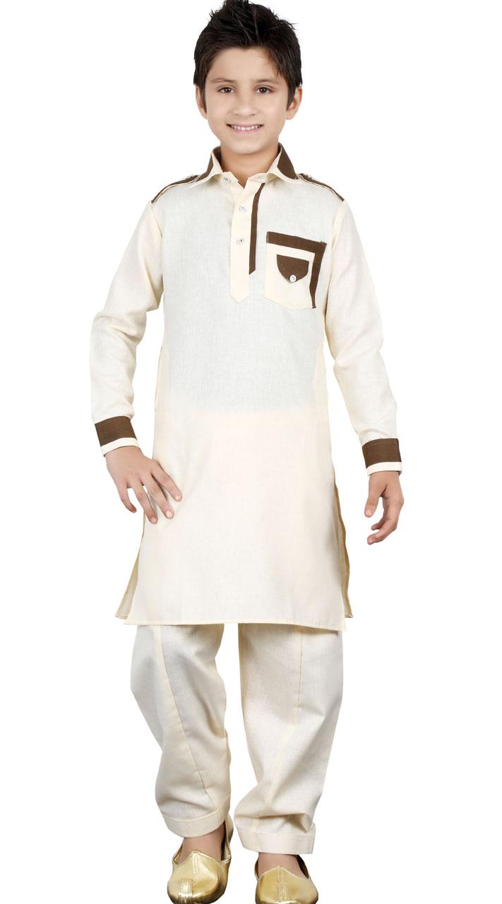 Off White Linen Cotton Kid Boy Pathani Suit Gr23513