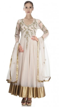 Off White Net Ankle Length Anarkali Suit SU3501