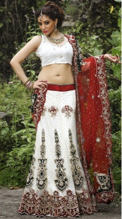 Off White net Lehenga Choli LD006803