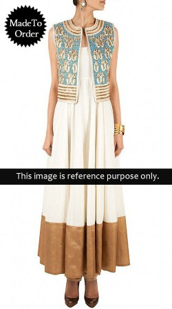 Off White Replica Koti Style Long Length Anarkali Suit 010