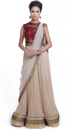 Off White Silk And Georgette Gown Style Suit SUMS34324