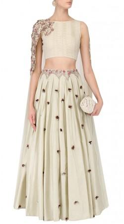 Off White Silk Designer Crop Top Lehenga SUUDL31431