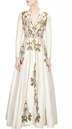Off White Silk Embroidery Work Gown Style Suit SUUDS48929