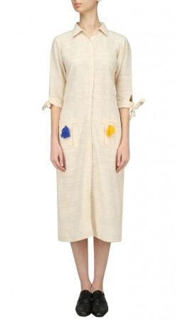 Off White Silk Long Kurti With Elbow Sleeves SUUDK19823