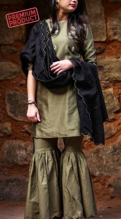 Olive Green Chanderi Silk Gharara Set With Black Dupatta BP1145