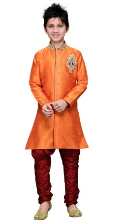 Orange Art Silk Kid Boy Breeches Pant Sherwani GR17012