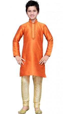 Orange Art Silk Thread Work Kid Boy Kurta Pajama GR13710
