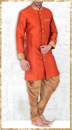 Orange Banarasi Silk Indo Western Kurta Pajama For Party 2MV1994621