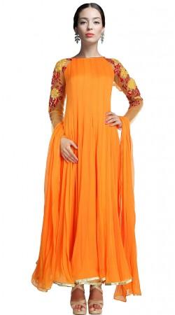 Orange Faux Georgette Ankle Length Anarkali Suit SUUDS18602