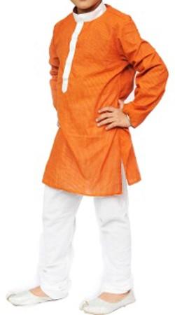 Orange Fancy Fabric Boy Kid Kurta Pajama BP2838
