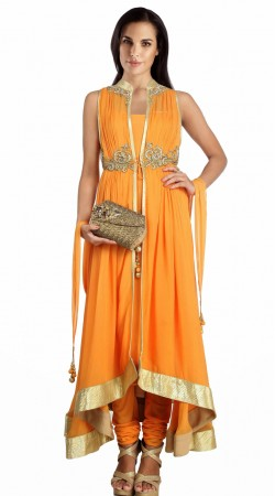 Orange Georgette Golden Border Designer Salwar Kameez SU24811