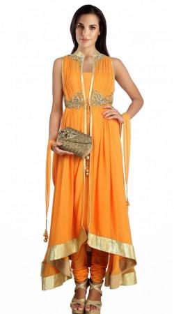 Orange Georgette Golden Border Designer Salwar Kameez SU24811