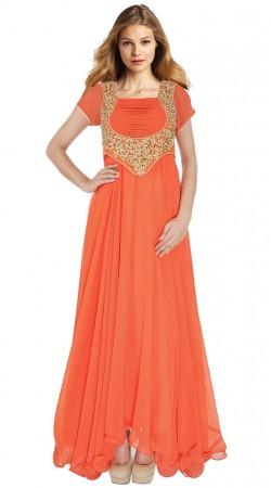 Orange Georgette Koti Style Embroidered Floor Length Anarkali Suit SUUDS27004