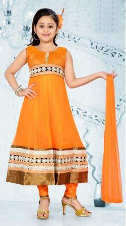Orange Golden Border Georgette Readymade Kids Long Suit DT700437