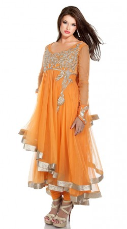 Orange Net Dual Layered Anarkali Suit SU7101