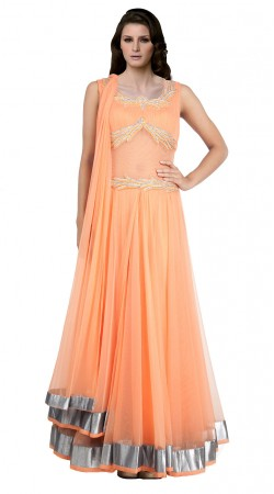 Orange Net Floor Length anarkali Suit SUUDS19702