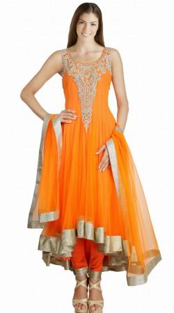 Orange Net Silver Border Readymade Designer Salwar Kameez SU16310