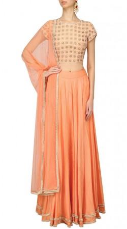 Orange Silk Crop Top Lehenga For Party SUUDL26725