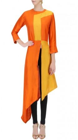 Orange Silk Front Cut Side Trail Kurti SUUDK20723
