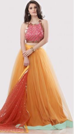 Orange Silk Plus Size Crop Top Lehenga SUUDL28127
