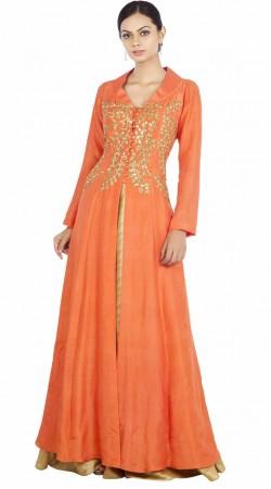 Orange Silk Plus Size Indo Western Salwar Kameez SUMA57028