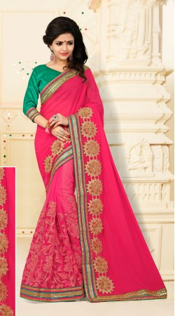 Orphic Digital Net And Catatonic Georgette Pink Floral Saree With Blouse VB11106B29