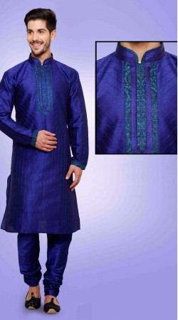 Ostentatious Blue Art Dupian Silk Men Kurta Payjama DTKP451