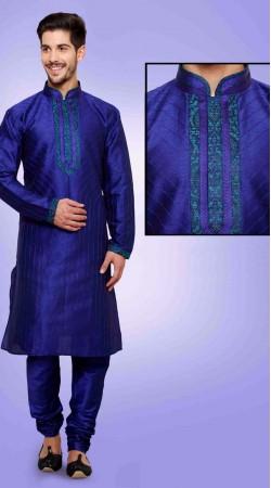 Ostentatious Blue Art Dupian Silk Men Kurta Payjama DTKP451