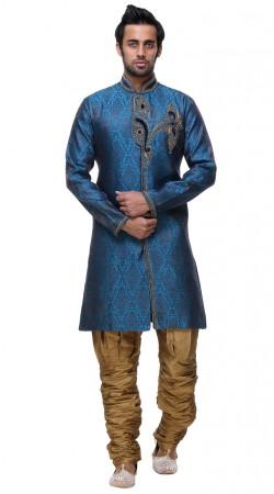 Ostentatious Blue Brocade Indo Western Modern Sherwani GR131504