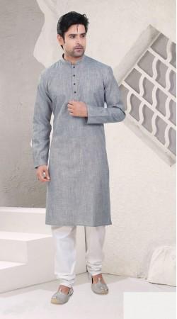 Ostentatious Grey Cotton Mens Kurta Pajama For Festival SI1242
