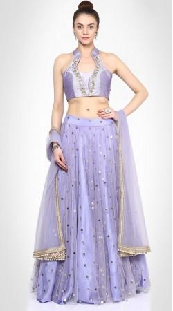 Ostentatious Lavender Net Stylish Lehenga Choli SUUDL14716