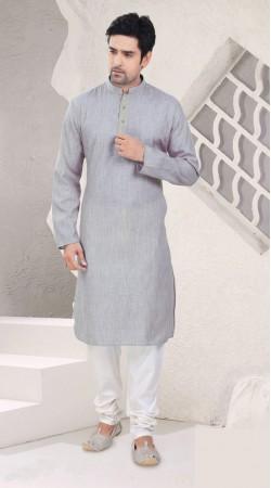 Ostentatious Light Grey Cotton Kurta Pajama For Festival SI0342