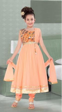 Ostentatious Light Peach Net Kids Girl Anarkali Suit DTK1052