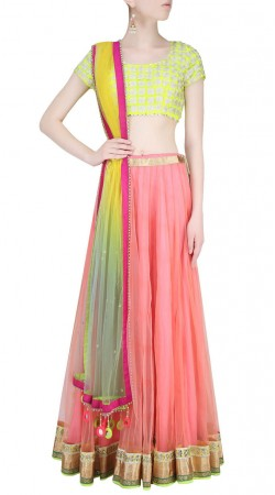 Ostentatious Net Pink Designer Crop Top Lehenga With Dupatta SUUDL23919