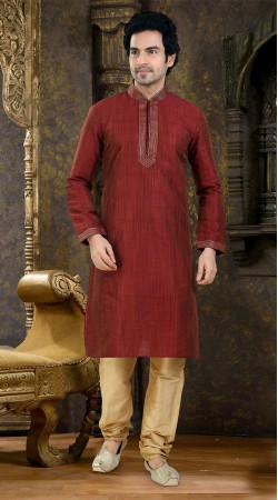 Ostentatious Red Art Raw Silk Kurta With Golden Cream Payjama SIL938