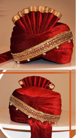 Ostentatious Red Velvet Lace Work Groom Wedding Pagri ZP0908