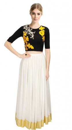 Ostentatious White Silk Lehenga With Black Embroidered Crop Top SUUDL11915