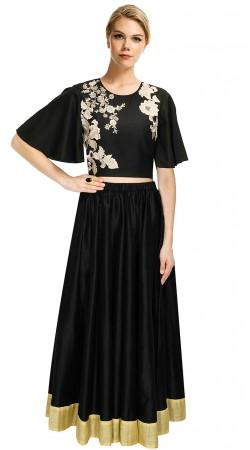 Outstanding Black Silk Designer Embroidered Crop Top Lehenga SUUDL12115