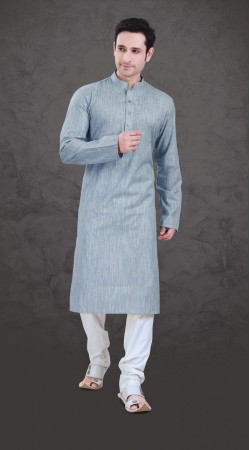 Outstanding Bluish Cotton Mens Wear Plain Kurta Payjama SI0843