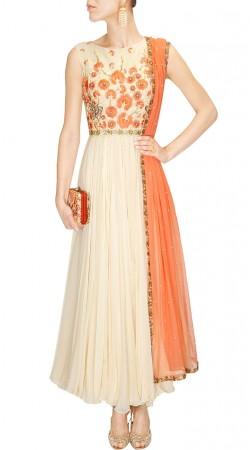 Outstanding Floral Yoke Work Off White Designer Anarkali Suit SUMS26817