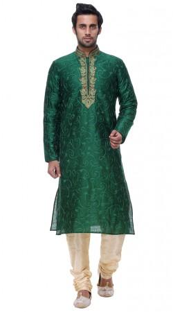 Outstanding Green Silk Mens Kurta With Thread Work GR140203