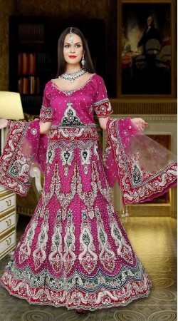 Outstanding Heavy Work Pinkish Purple Net Semi Bridal Lehenga Choli DTL745