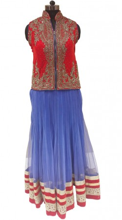 Outstanding Light Bluish Purple Fine Net Designer With Front Zip Red Choli LD000807