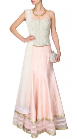 Outstanding Light Pink Silk Designer Lehenga Choli SUUDL13916