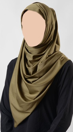 Outstanding Olive Green Poly Knit Hijab BP0549
