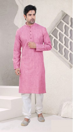 Outstanding Pink Cotton Full Sleeves Kurta Pajama SI0242