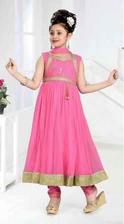 Outstanding Pink Kids Girl Long Anarkali Suit With Golden Border DT11448
